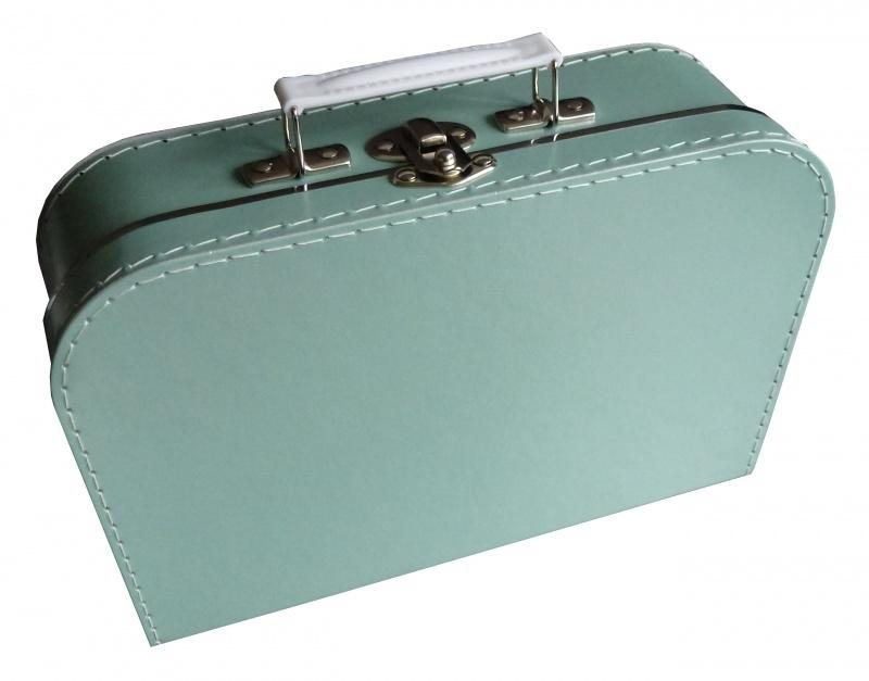 Koffertje met opdruk van het geboortekaartje Mintgroen
