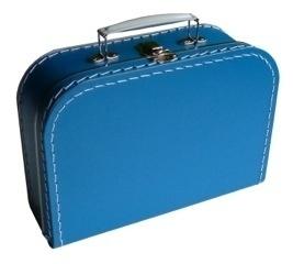 Koffertje met opdruk van het geboortjekaartje Aquablauw
