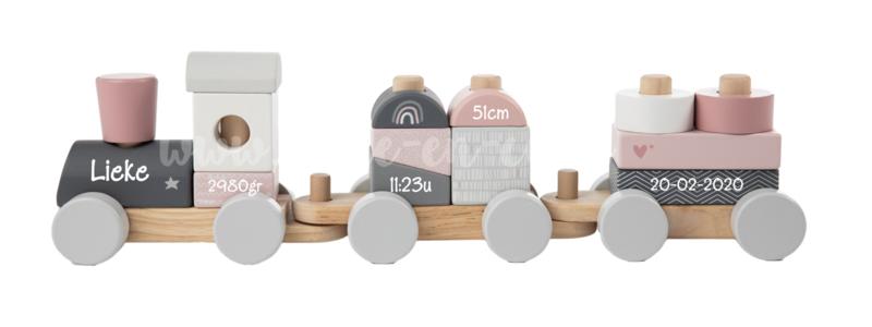 Label Label Houten Trein Roze met naam en geboortegegevens