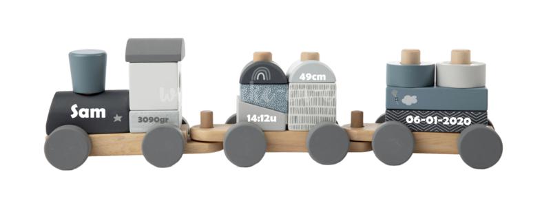 Label Label Houten Trein Blauw met naam en geboortegegevens