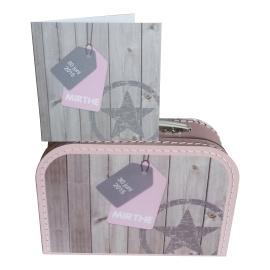 Koffertje met opdruk van geboortekaartje Babyroze