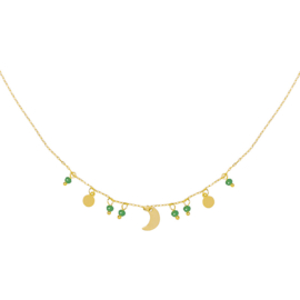 Moonlight Necklace - Gold & Green