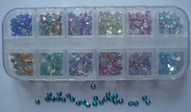 strass steentjes AB kleur, 4mm (12 kleuren)