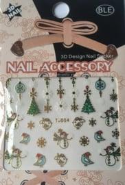TJ54 Kerst nagelsticker