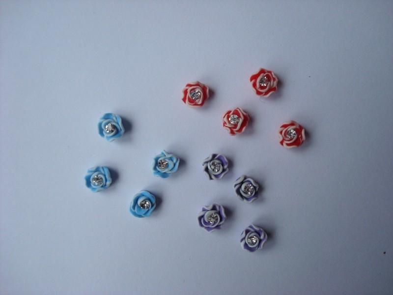 3D roosjes + diamantje (48stuks)