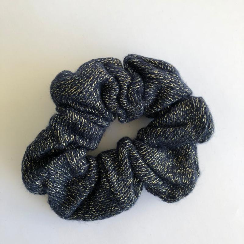 Scrunchie - Donkerblauw & Glitters