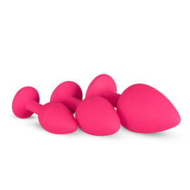 Siliconen buttplug set met diamant - roze