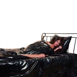 Dekbed hoeslaken in glanzend zwart lak