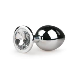 Metalen buttplug met transparante diamant - zilverkleurig