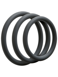 Set van 3 siliconen cockrings - Grijs