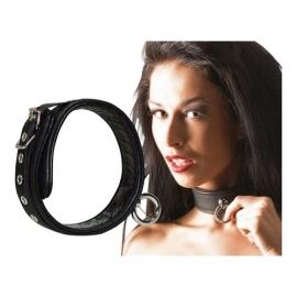 Gladde lederen sm halsband met O-ring