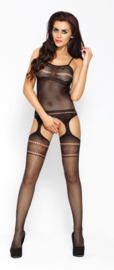 Zwarte jarretel catsuit - strikjes motief