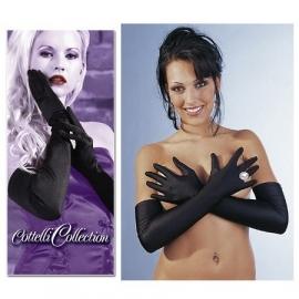 Zwarte lange satijnen handschoenen