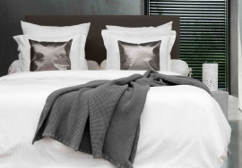 Heckett & Lane wafel plaid Cuban kleur dark grey 180x260 cm of 240x260 cm