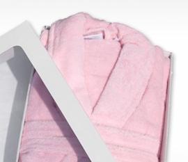 Badstof badjas A&R met sjaalkraag 100% katoen licht pink XXS t/m XXXL
