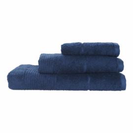 Elias  handdoek Deep 50x100 cm Egyptisch katoen 600gr/m² kleur navy blue set van 2 stuks