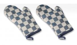Ovenwanten Elias pompdoek blauw set 2 stuks