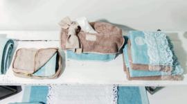 Arte Pura Chitarra handdoeken 60x100 cm met PF kant set van 2 stuks leverbaar in meerdere kleuren