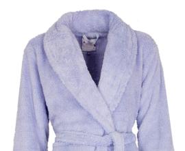 Tenderness badjas licht blauw met subtiel glitter streepje coral fleece
