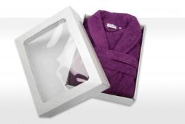 Badstof badjas A&R met sjaalkraag 100% katoen aubergine XXS t/m XXXL