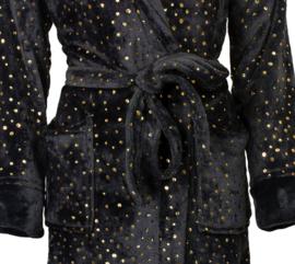 Dames badjas Irresistible superzachte coral fleece kleur ebony S t/m 3XXL