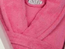 Badstof badjas A&R met sjaalkraag 100% katoen pink XXS t/m XXXL