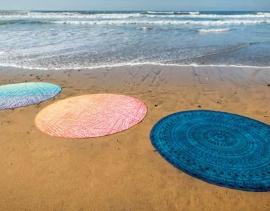 Rond strandlaken 180 cm doorsnee in  3 kleuren leverbaar