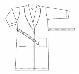 Badstof badjas A&R met sjaalkraag 100% katoen lichtblauw XXS t/m XXXL