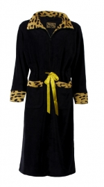 Dames badjas met rits Medaillon zwart superzachte fleece S  t/m XXL