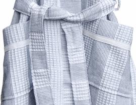 Dames korte wafelbadjas Taubert Bretagne wit/navy 100% katoen soepelvallend met capuchon maat XXL