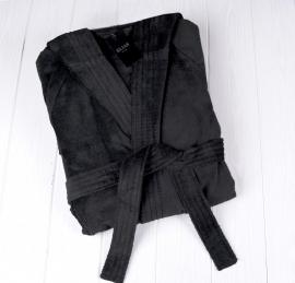 Badjas Elias velours met capuchon zwart XS t/m XL