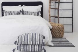 Plaid Flamant Plume linnen kleur wit 140x260 cm of 240x260 cm