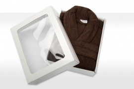 Badstof badjas A&R met sjaalkraag 100% katoen chocolate brown XXS t/m XXXL