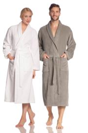 Vossen badjas Feeling-L met sjaalkraag, 100% katoen velours L t/m XXL kleur taupe