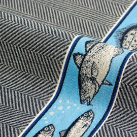 Theedoek Bunzlau Castle Fish dark blue