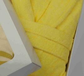 Badstof badjas A&R met capuchon 100% katoen geel XXS t/m XXXL