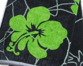 JMA strandlaken Flowers velours 100x180 cm antraciet groen