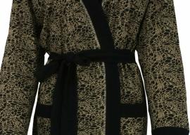 Ochtendjas/badjas Medaillon Allover gold katoenen jersey maat 36 t/m 50