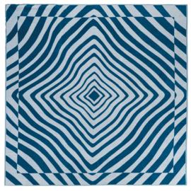 2 persoons strandlaken Arkhipelagos one plus one, 180x180 cm  kleur  blauw inclusief  geweven tas