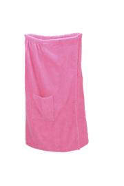 A&R dames saunakilt badstof verstelbaar met klitteband kleur pink