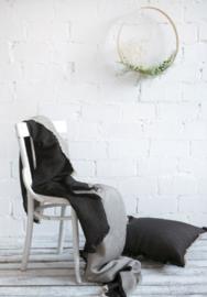 Holland linnen plaid linnen/katoen 200x160 cm kleur grijs/naturel