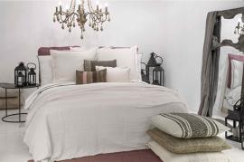 Flamant dekbedovertrek Qina kleur mauve stonewashed 30% tencel 70% katoen maat lits-jum