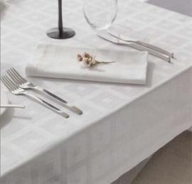 Tafelkleed ontbijtlaken damast blok ecru/ivory