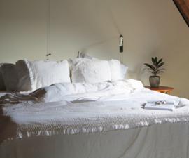 Passion for Linen dekbedovertrek Carine 100% linnen bovenkant katoensatijn onderkant kleur wit of sand