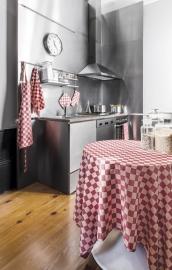 Tafelkleed ontbijtlaken Elias pompdoek 160x250 cm of 160x350 cm, rood, blauw of zwarte ruit