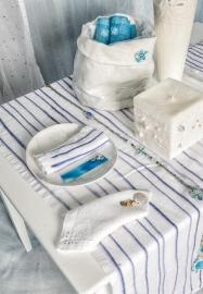 Loper Arte Pura Mortadella wit met blauwe strepen 50x160 cm