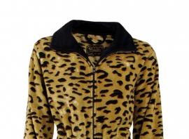 Dames badjas met rits Medaillon met dierenprint superzachte fleece met rits  S  t/m XXL