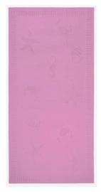 Strandlaken seafood  XL katoen velours kleur pink 100x200 cm