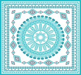 2 persoons strandlaken for all, 180x180 cm  kleur  blauw inclusief  geweven tas