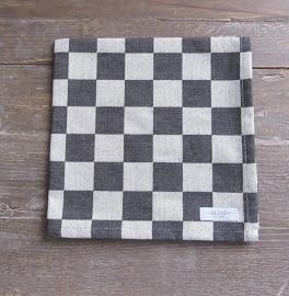 Servetten Elias pompdoek 45x45 cm zwarte ruit